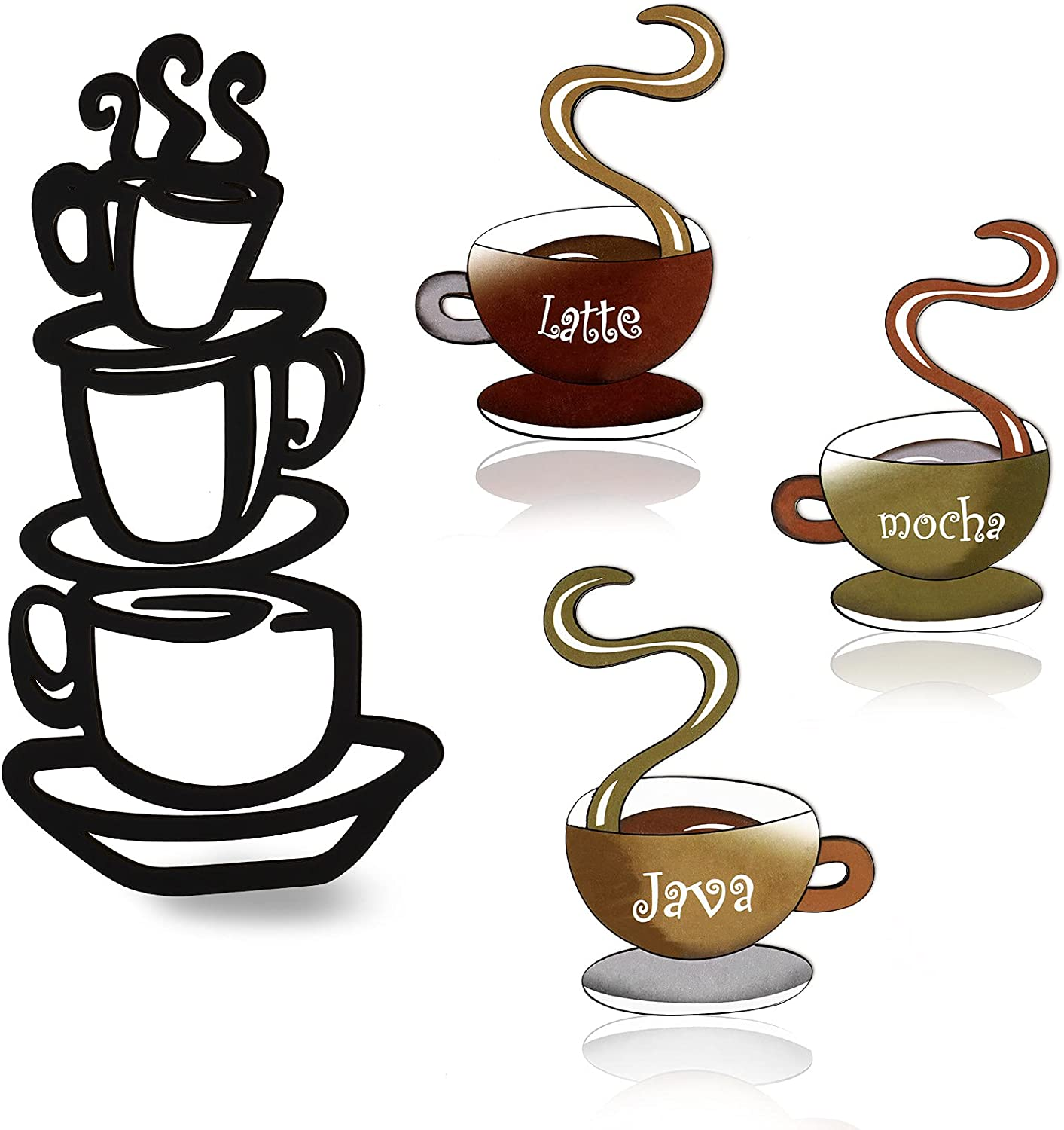 4 Pieces Coffee Cup Wood Wall Art Coffee Tea Cup Wall Sign Decor Mug Latte Java Mocha Cup Wall Plaque with Hook Rustic Silhouette Coffee Cup Home Wood Decor for Farmhouse Kitchen Restaurant Decoration