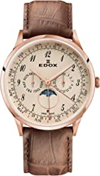 Edox Mens Les Vauberts 44mm Brown Leather Band Rose Gold Plated Case Quartz Analog Watch 40101