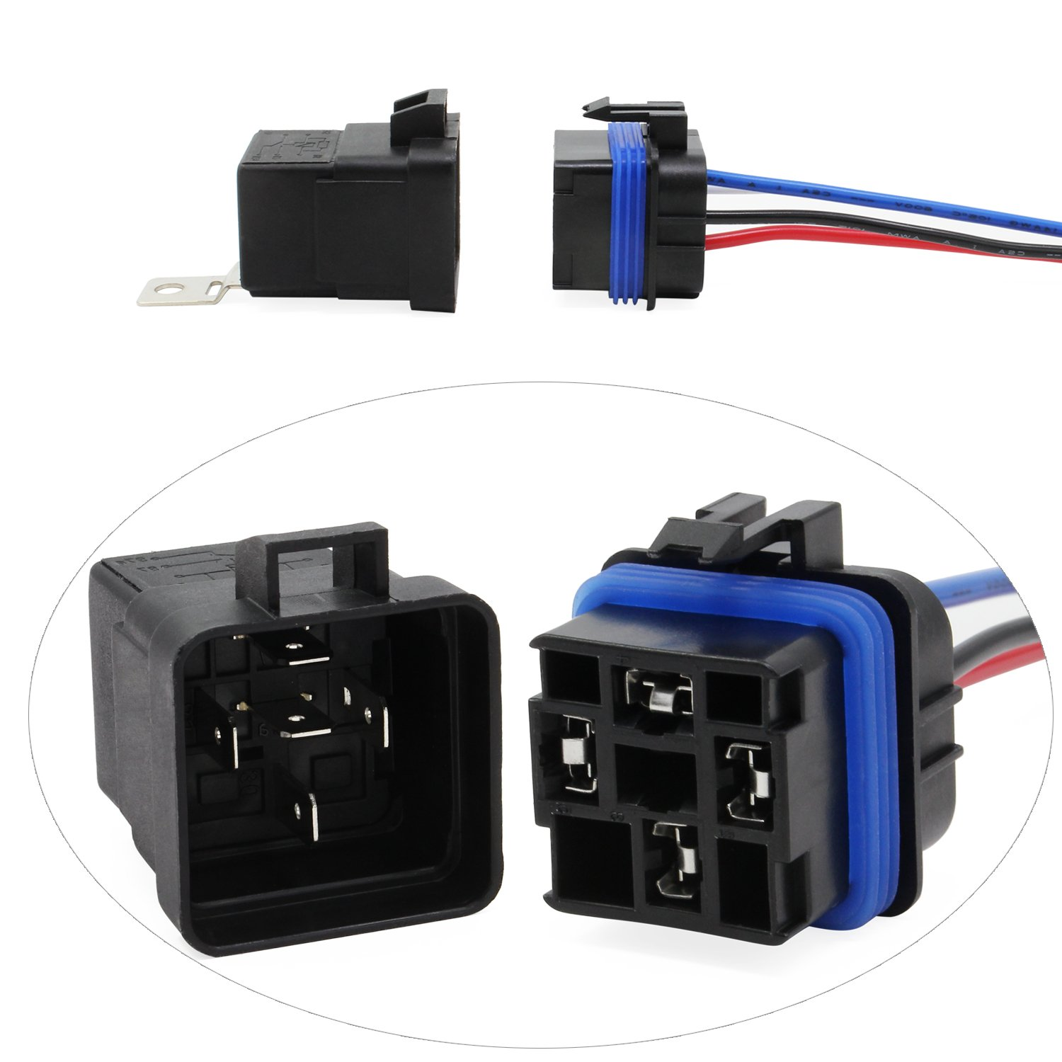 4P-2Pcs OCR 12V 30A 4Pin Relay Harness with Interlocking Relay Socket