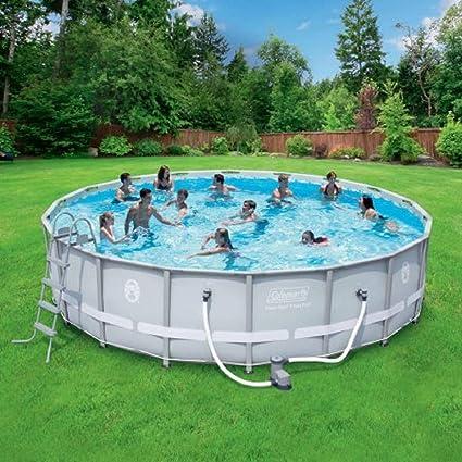 above ground swimming pool inground coleman 18 48quot power steel frame aboveground swimming pool set amazoncom 48