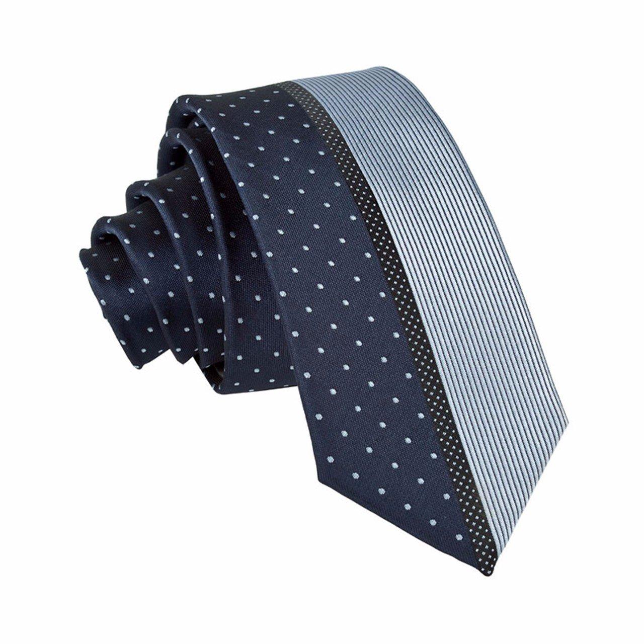 HXCMAN 5.5cm azul lunares rayas estrecha corbata diseño clásico ...