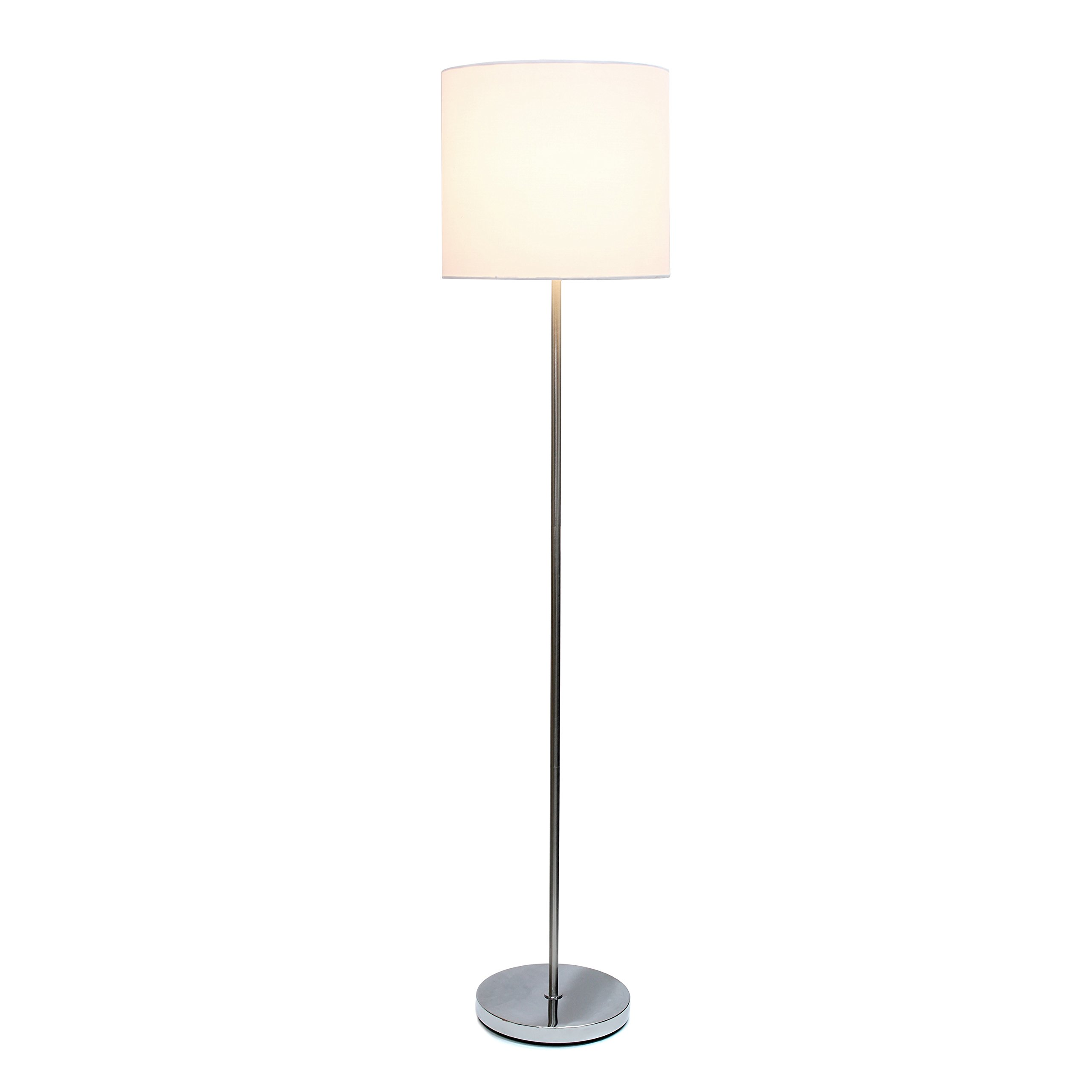 Simple Designs LF2004-WHT Brushed Nickel Drum Shade Floor Lamp, White