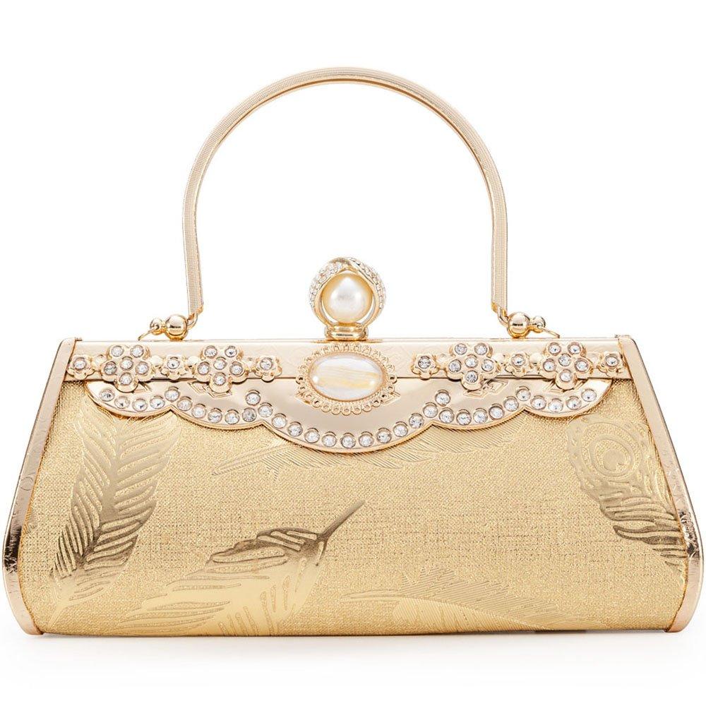 Women Clutch Bag Rhinstone Flower Decorative Vintage Classic Strong Metal Frame Evening Shoulder Bag Girls Ladies Gold Elegant Handbag Purse For Weddings Parties Ceremony Daily Use (Gold 4)