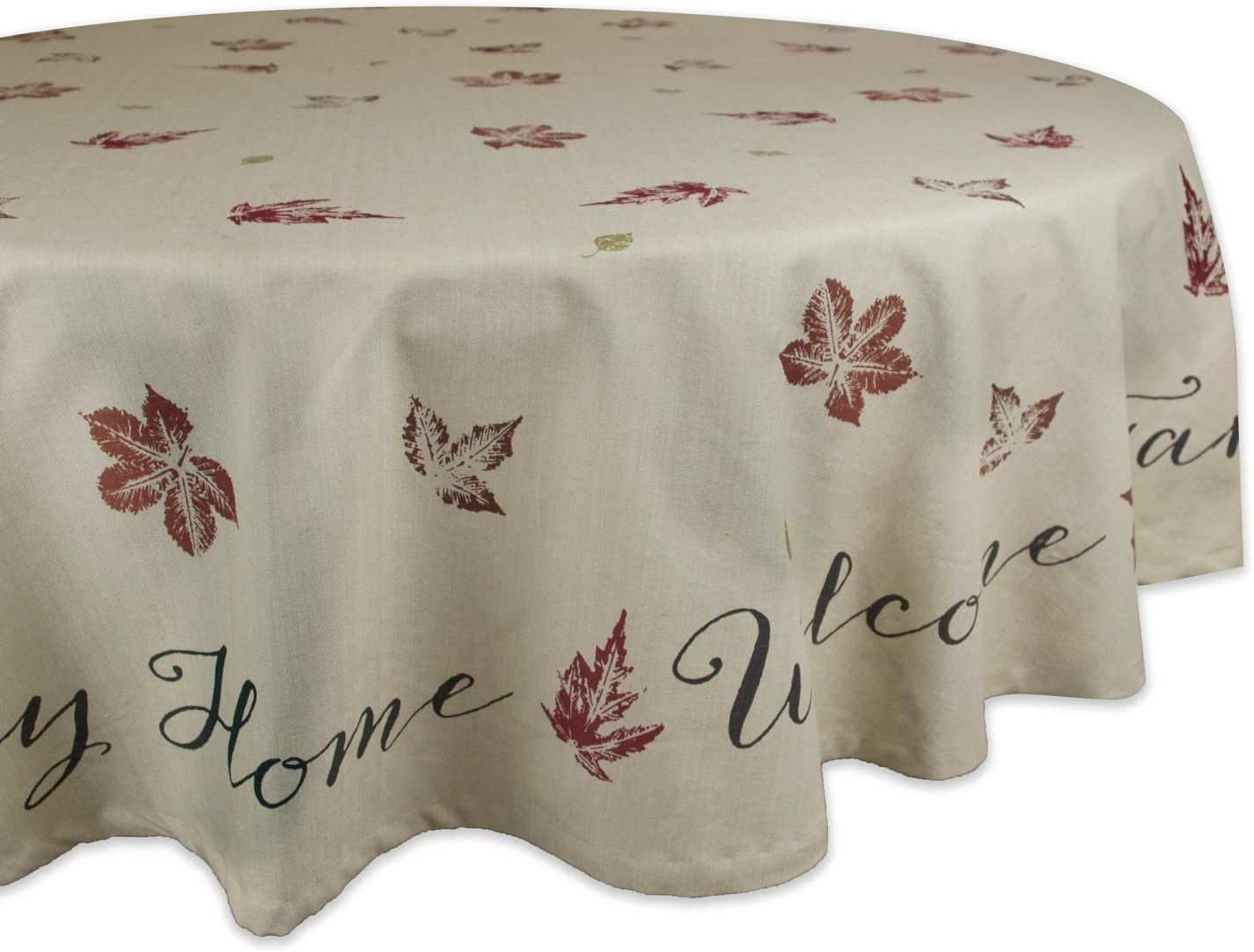 "DII 100% Cotton, Machine Washable, Printed Kitchen Tablecloth For Dinner Parties, Fall, Holidays & Thanksgiving - 70"" Round, Seats 4-6 People, Rustic Leaves"