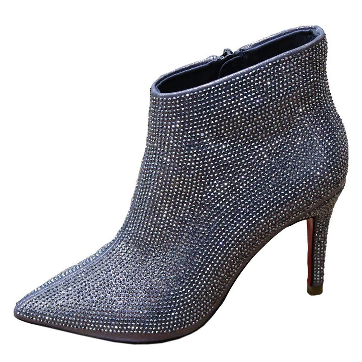LBTSQ-Trendy Diamond Hochhackigen Schuhe Kurze Stiefel 8Cm Reißverschluss Wies Kopf Dünne Sohle Ma Dingxue.
