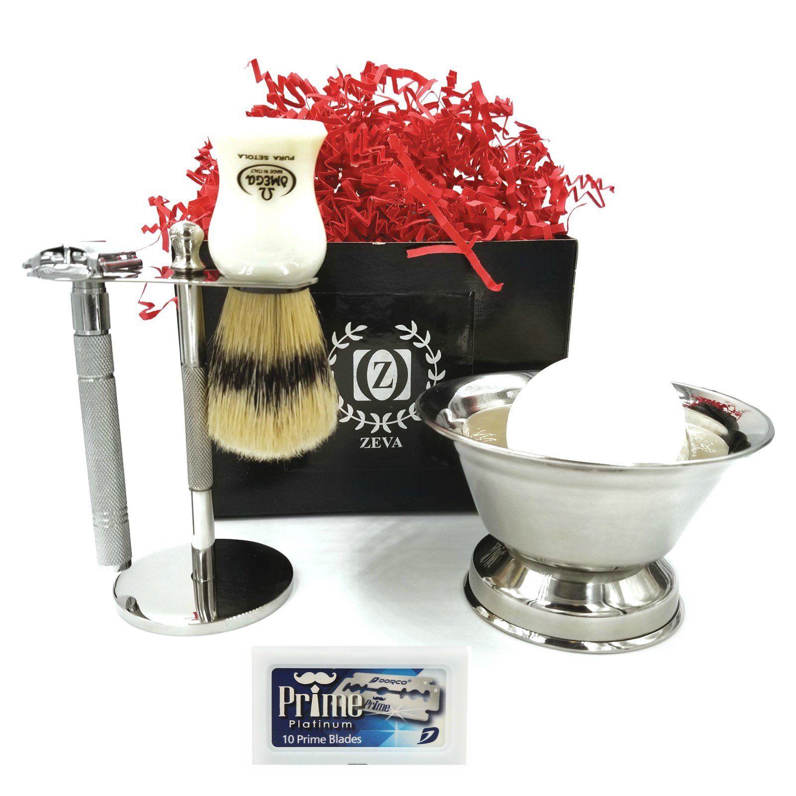 Men's Shaving Set 5 Pieces Double Edge Safety Razor Set Kit Omega Pure Bristle Shaving Brush Stand Shaving Cup & Shaving Soap Gift Set/Kit