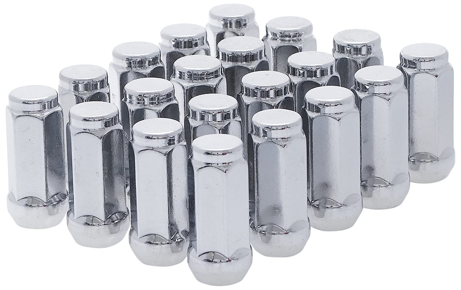 White Knight 1909XL-20AM 14mm x 1.50 Thread Size Long Bulge Acorn Lug Nut, Chrome, 20-Pack