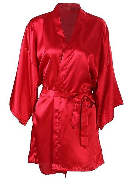Amazon.com: Women\'s Kimono Satin Wedding Robe Short Dressing Gown ...