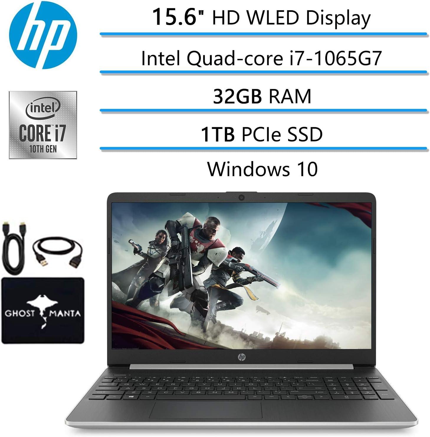 """2020 Newest HP Laptop 15.6"""" HD WLED Computer, Intel Quad-core i7-1065G7(Beat i7-10510U), 32GB RAM, 1TB PCIe SSD, Intel Iris Plus Graphics, Webcam, USB Type-A&C, HDMI, WiFi, Win10, w/GM Accessories"""