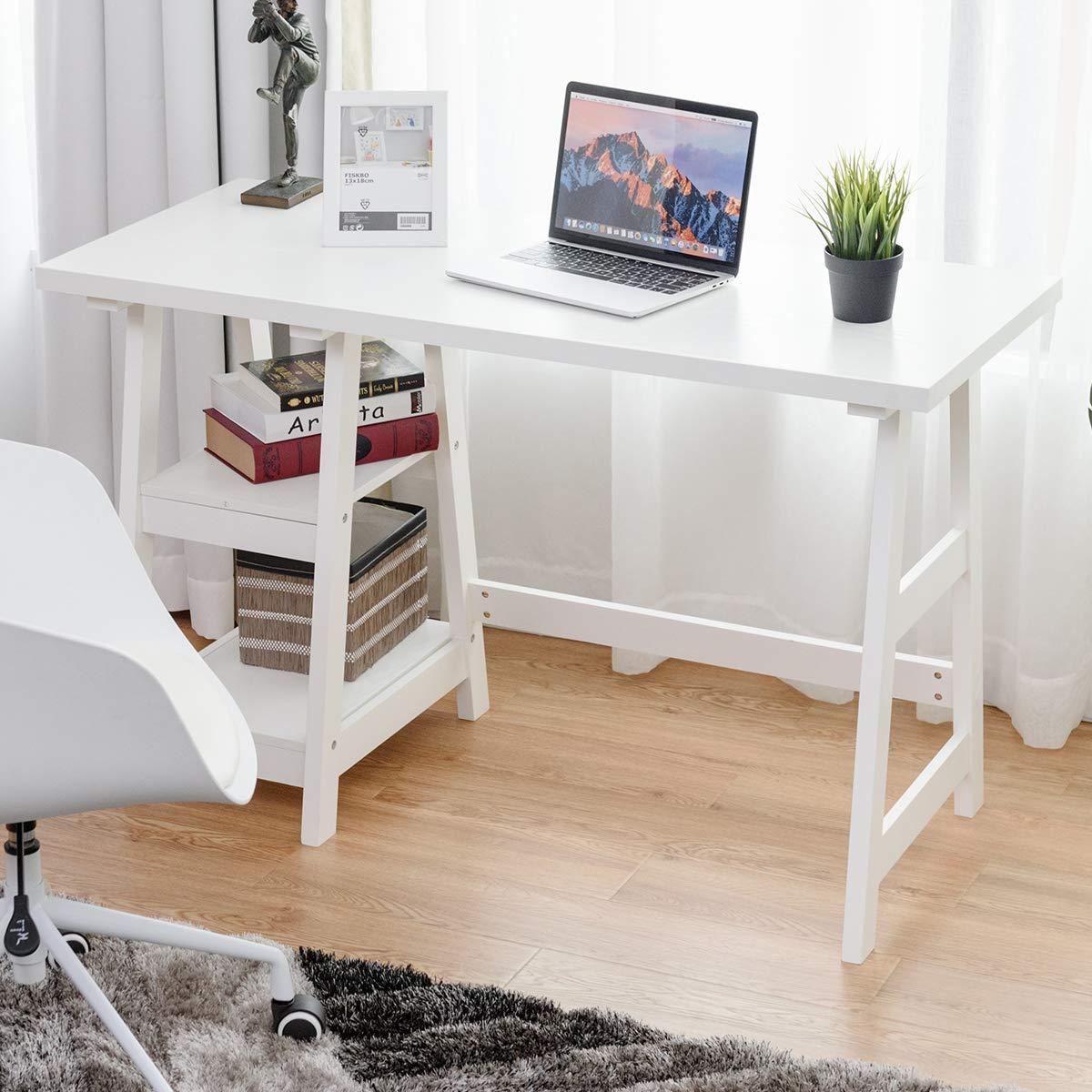 amazon com tangkula writing computer desk trestle desk study desk rh amazon com Gaming Desk Modern Glass Computer Desk