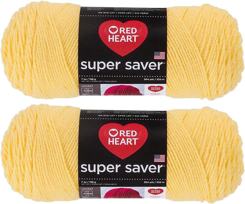 Bulk Buy: Red Heart Super Saver (2-Pack) (Lemon, 7 oz Each Skein)