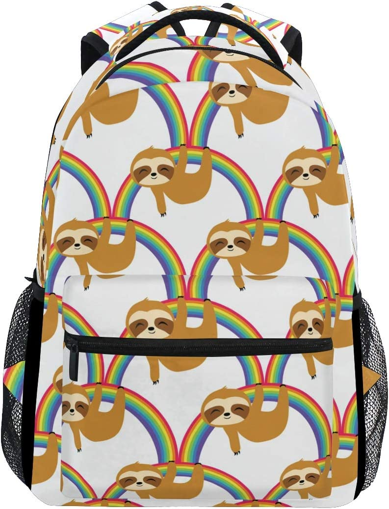 ALAZA Sloths On Rainbow Mermaid Large Backpack Personalized Laptop iPad Tablet Travel School Bag with Multiple Pockets
