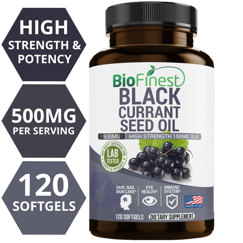 Biofinest Black Currant Seed Oil Supplement - 500mg/1000mg - 100% Organic Cold-Pressed Hexane Free - 150mg Gamma Linolenic Acid GLA - Hormonal Balance, Eye Health, Immune Boost (120 Softgels Capsules)