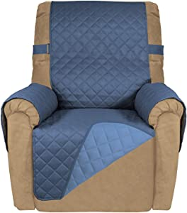 PureFit Reversible Quilted Recliner Sofa Cover, Spill, and Water Resistant Slipcover Furniture Protector, Washable Couch Cover with Adjustable Strap for Kids, Pets (Recliner, Darkblue/LightBlue)