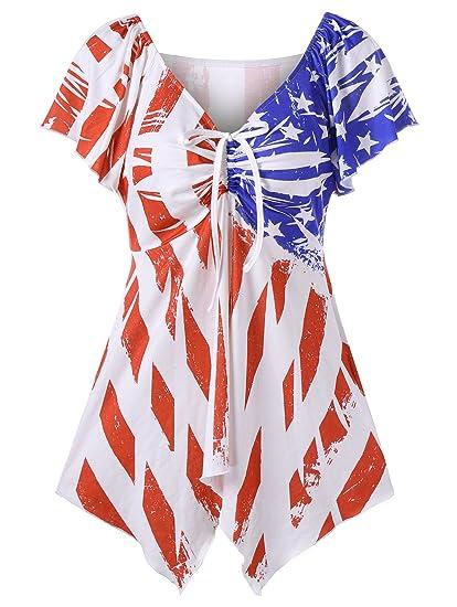 Camisetas Mujer Manga Corta Bandera Estampados Dresses Señoras Moderno V Cuello Blusas Verano Elegantes Moda Casual Irregular T Shirt Tops: Amazon.es: Ropa ...