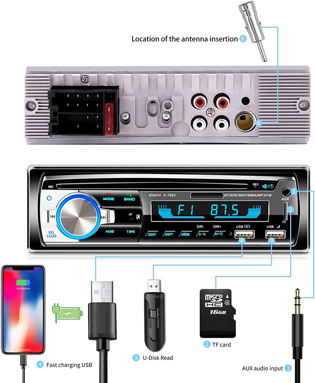 Accessoires MP3 MP3 Auto r/étro Lecteur Intelligent Autoradio Bluetooth avec Appel Mains Libres /à Distance sans Fil Fayeille Autoradio