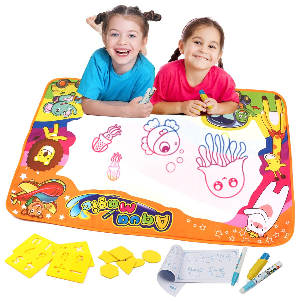 Aquadoodle Mat Aqua Doodle Mat, Kids Toys Large Water Drawing Mat Toddlers Painting Board Writing Mats in 6 Colors with 2 Magic Pens and 1 Brush for Boys Girls Educational Size 34.5'' X 22.5