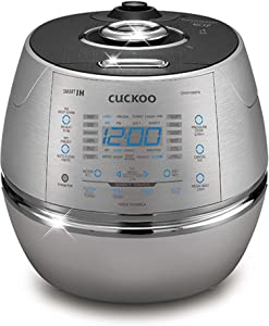 Cuckoo Electric Induction Heating Rice Pressure Cooker 10 Cup Full Stainless Steel Interior with Non-Stick Coating - 3 - Language Voice Navigation and LED Screen with Touch Selection Menu – Metallic (Renewed)
