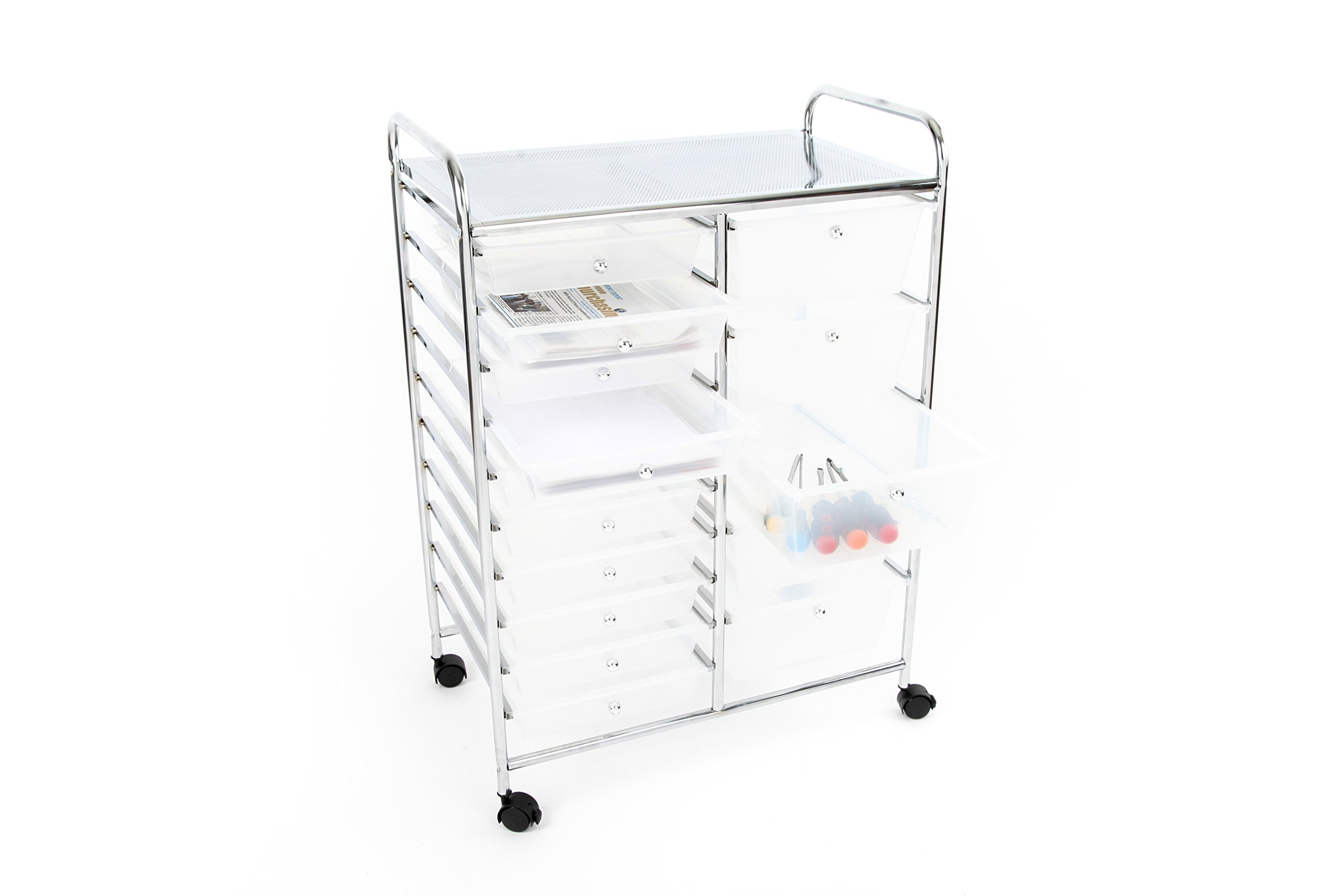 Finnhomy 15 Drawer Rolling Cart Organizer Storage Cart with Drawers Utility Cart for School Office Home Beauty Salon Storage Semi-Transparent White by Finnhomy (Image #7)