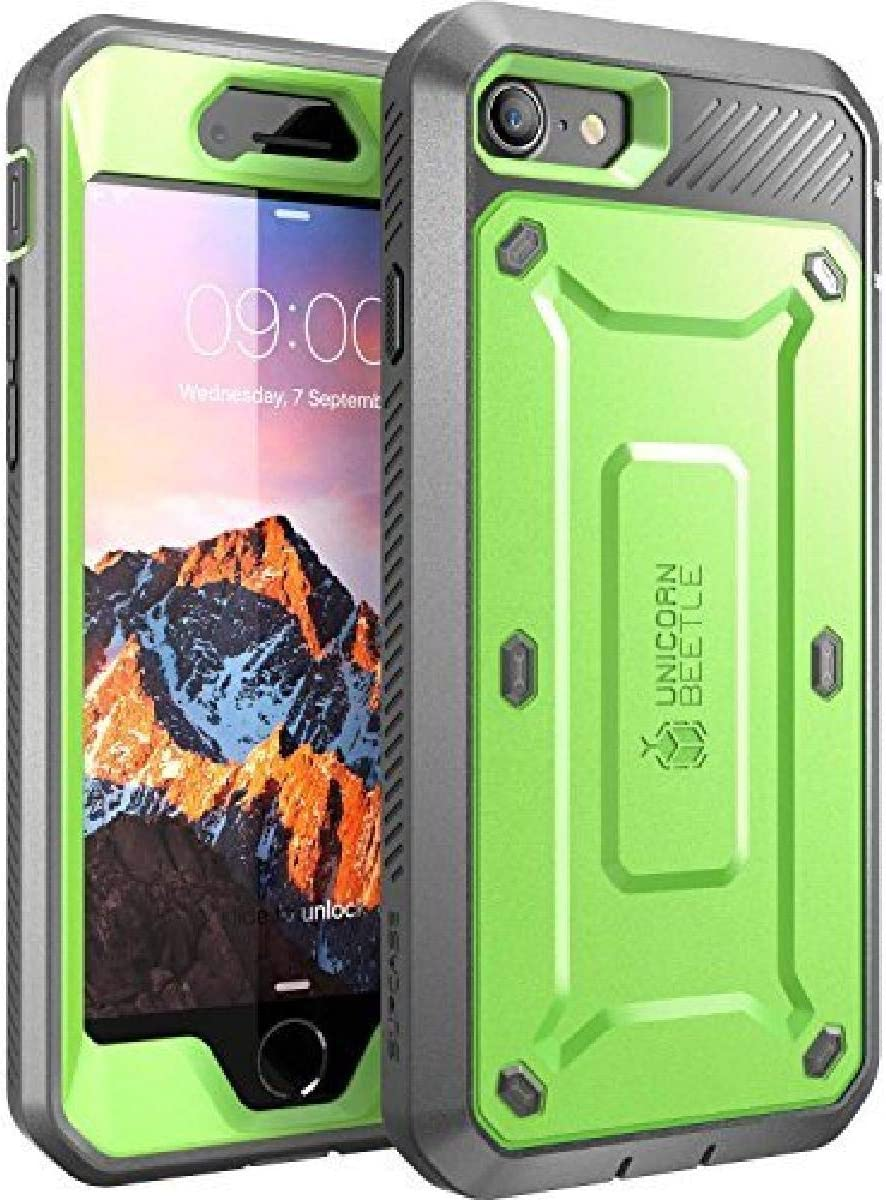 SUPCASE iPhone 7 Case, iPhone 8 Case, SUPCASE Unicorn Beetle PRO Series Full-body Rugged Holster Case with Built-in Screen Protector for Apple iPhone 7 2016 / iPhone 8 2017 (Green/Gray)