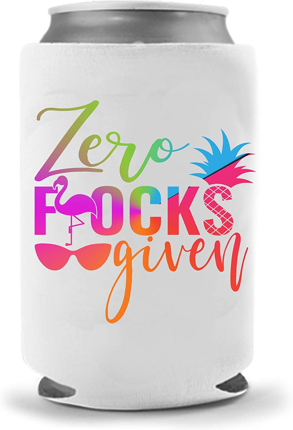 Flamingo Zero Flocks Given Beer Coolies | Pink Rainbow | Funny Gag Party Gift Beer | Funny Joke Drink Can Cooler | Beer Beverage Holder | Beer Gifts | Quality Neoprene Insulated Coolie (Rainbow)
