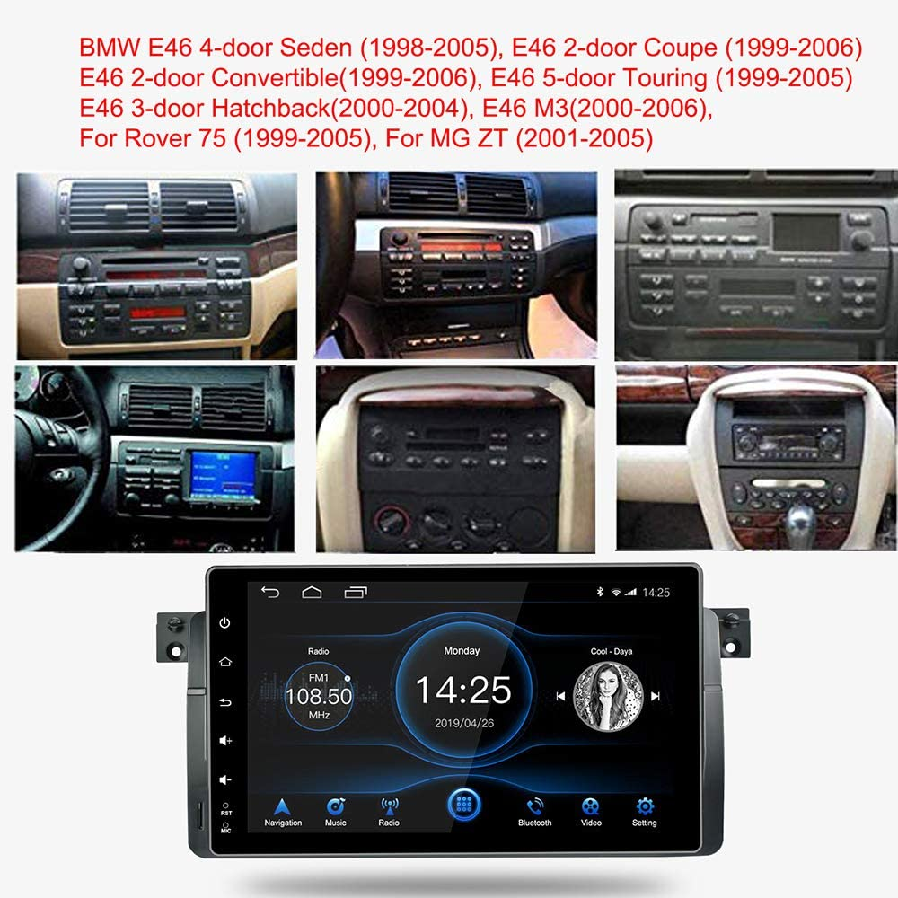 LEXXSON Android Car Stereo GPS Navigation for BMW E46 1999-2004 Android Octa Core Car Radio 4GB RAM 32G ROM 9inch IPS Touch Screen Head Unit with Bluetooth Support WiFi USB