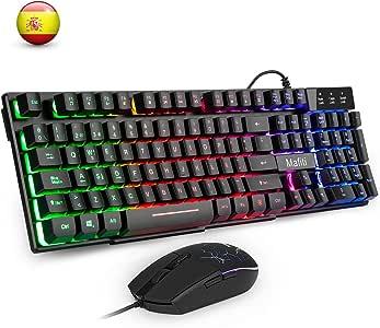 Mafiti RK101 Combo Ratón y Teclado USB ,Retroiluminación Rainbow ...