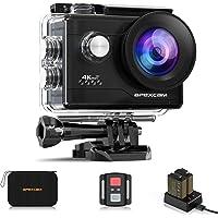 Apexcam kamera sportowa 4K z WiFi, 20 MP, Ultra HD, wodoodporna - 40 m, szeroki kąt widzenia 170°, 2,4 G, pilot zdalnego…