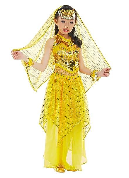 BellyQueen Belly Dance 7 Piezas Cojunto Danza Oriental Traje Top Falda Disfraz Carnaval para Nña 8-11 Años - Amarillo