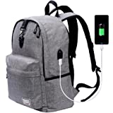 Laptop Backpack-Beyle Anti-theft Water Resistant Travel laptop backpack with USB Charging Port School Bookbag for College Travel Backpack designed for 17-Inchand Notebook,Grey