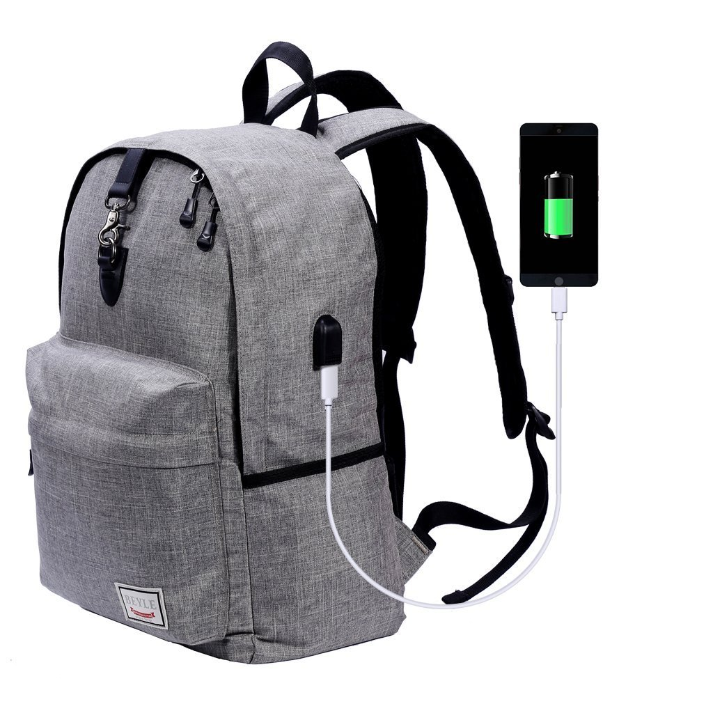 Laptop Backpack-Beyle Anti-theft Water Resistant Travel laptop backpack with USB Charging Port School Bookbag for College Travel Backpack designed for 17-Inchand Notebook,Grey by Beyle