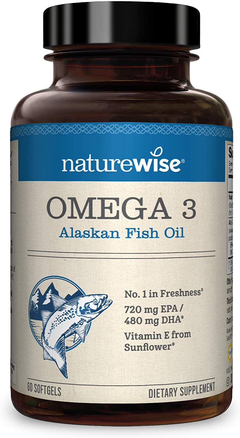 NatureWise Wild Caught Alaskan Fish Oil 2000mg for Heart Health, Cholesterol Supplement – Antioxidant Vitamin E, EPA and DHA with Wild AlaskOmega (Packaging May Vary) [1 Month Supply – 60 Softgels]