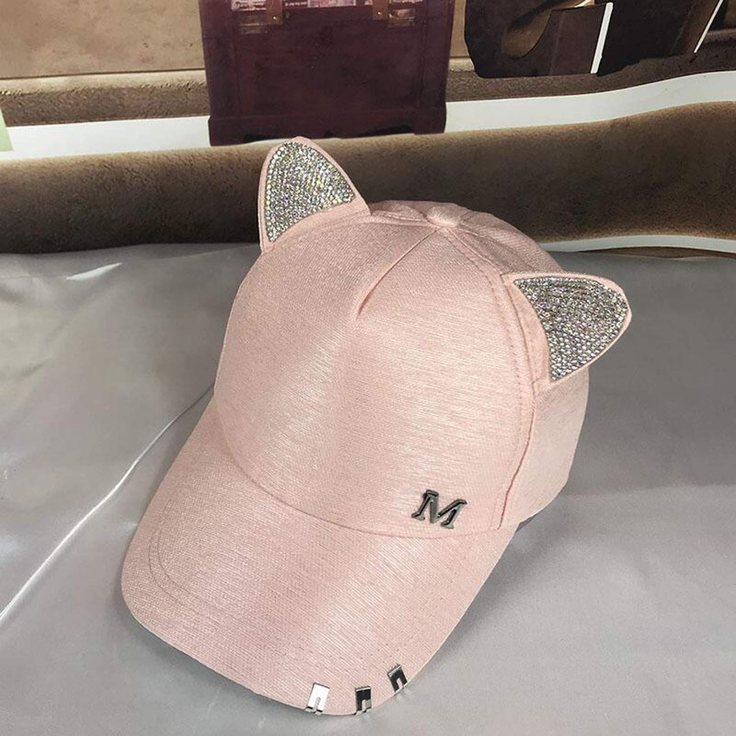 New Summer Fall Black White Pink hat Cat Ears Cat Baseball Cap with Rings and lace Diamond Cute Girl hat