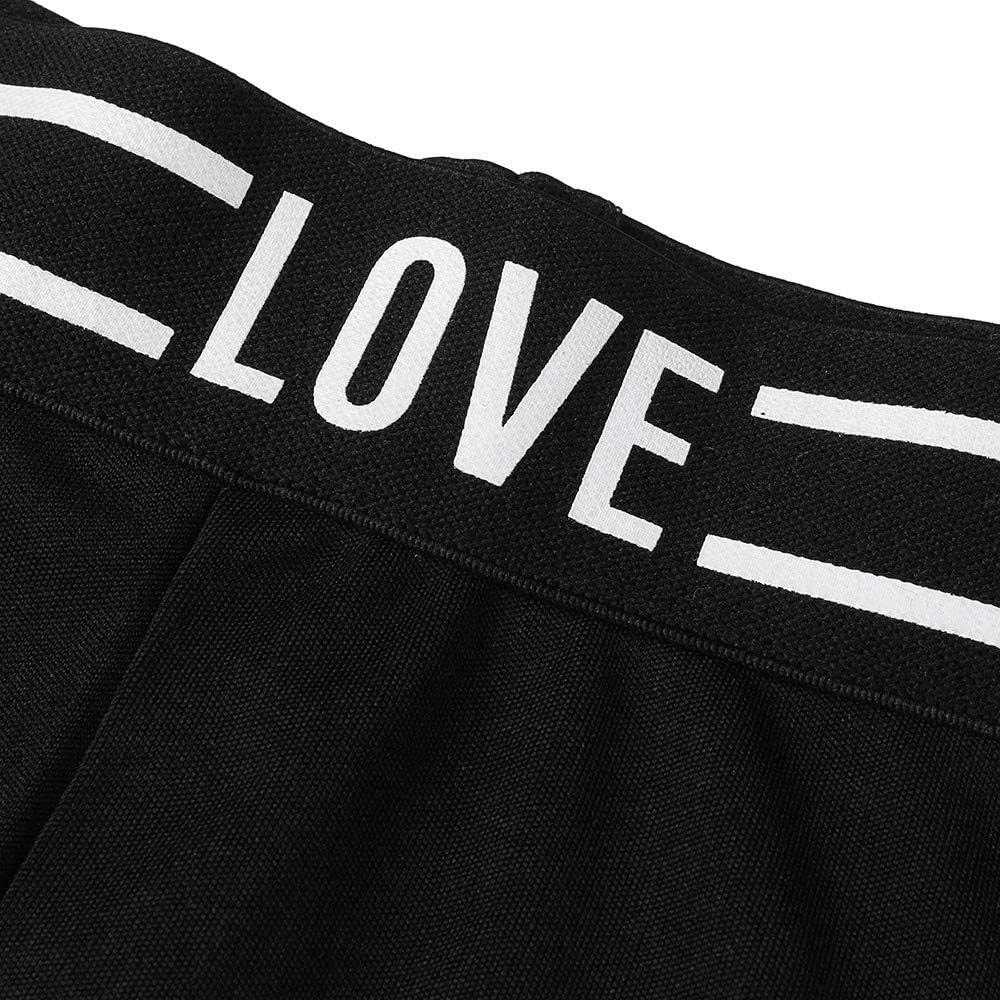 JESPER Women Hollow Voile Stitching Slim Slogan Print Casual Sport Long Yoga Pants