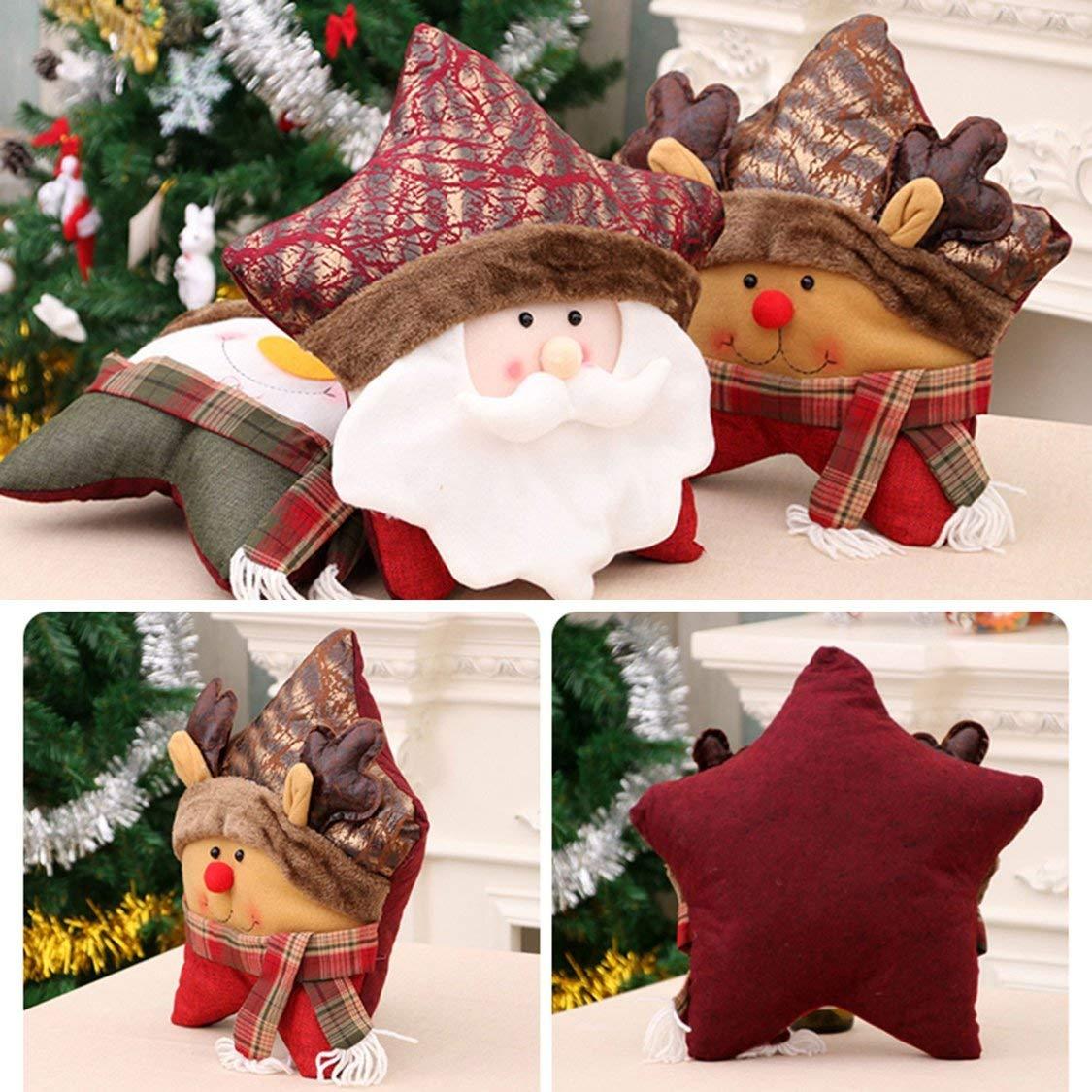 Weihnachtsdekoration Geschenk Kontrast Farbe Mosaik F/ünf-Sterne-Kissen Schneemann alte Hirsch Cartoon Kissen zur/ück Hause liefert Multi-Color weihnachten deko
