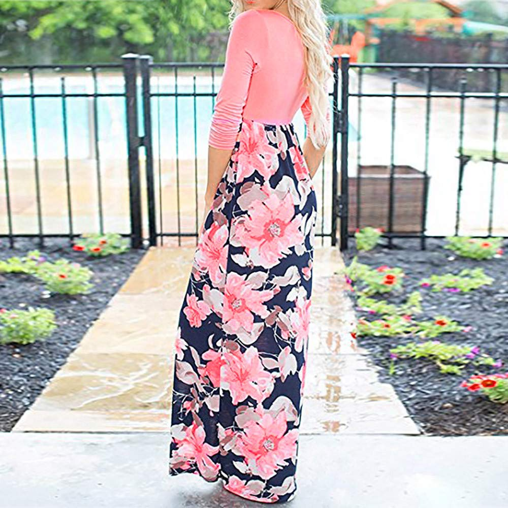 Pink,L Wokasun.♪♪ New Women Sleeveless Floral Long Tunic O-Neck Maxi Dress with Pockets Spring Summer Dress