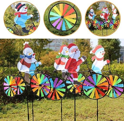 Yifeicx 3D Gran Muñeco De Nieve Santa Claus En Bicicleta Windmill Wind Spinner Molinete Patio Jardin Decoracion: Amazon.es: Jardín