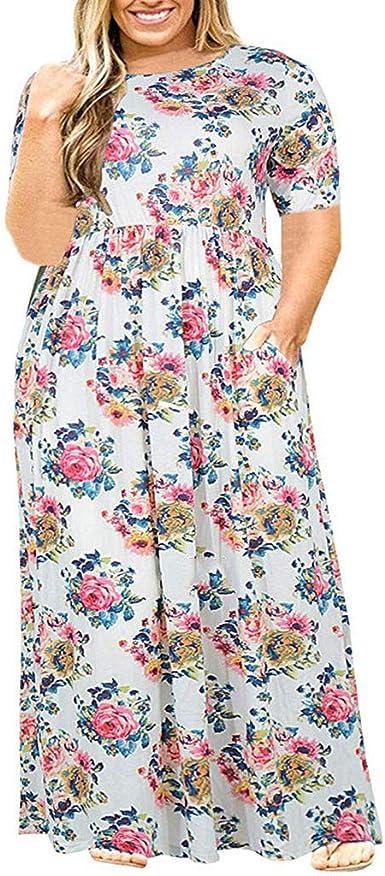 Vestido Largo Mujer Talla Grande Moda Bolsillo Top Falda para ...