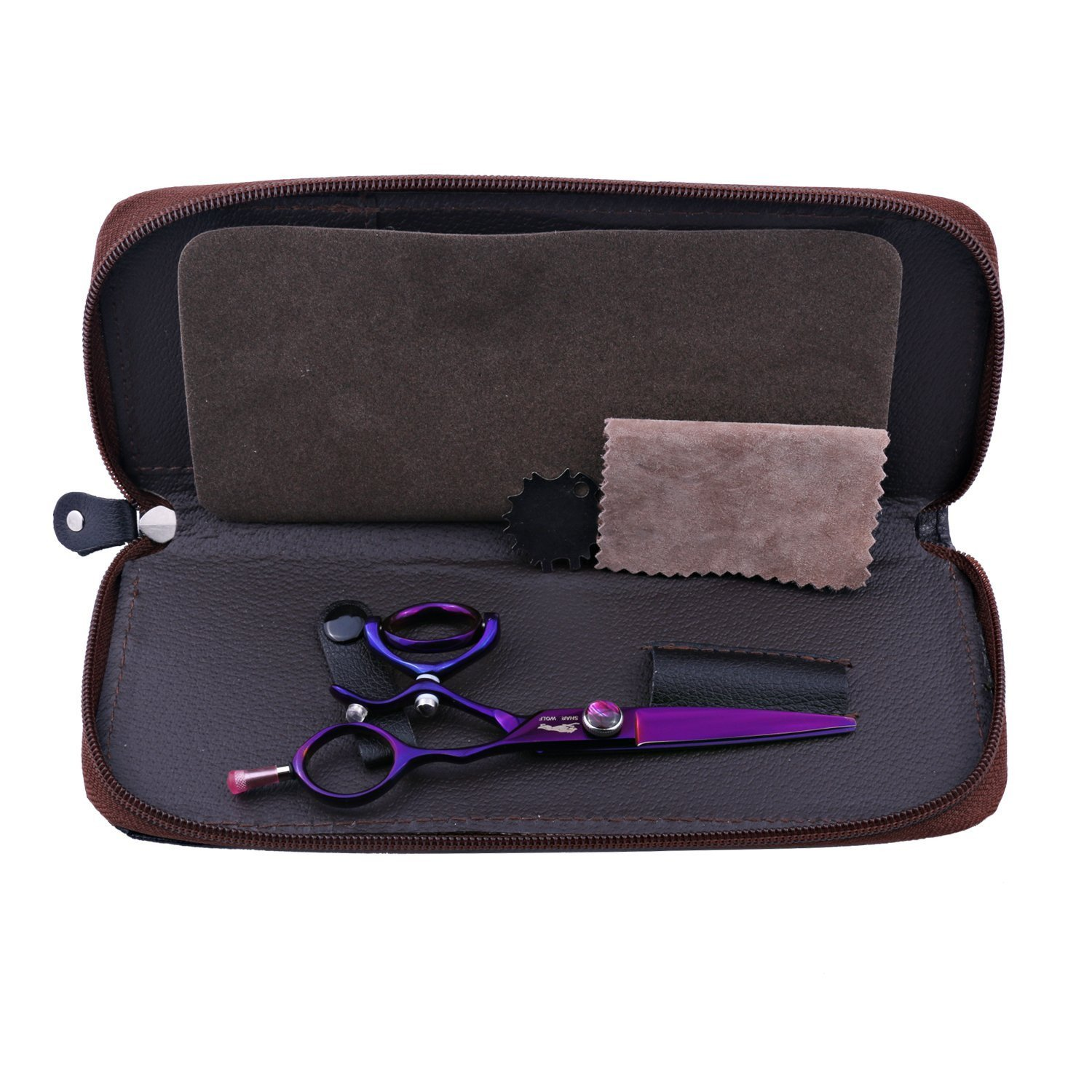 5.5 Professional Purple Swivel Handle Hair Cutting Scissors/Shear for Barber Purple Dragon