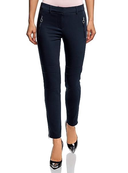 selezione migliore 6ffae 52b60 oodji Ultra Donna Pantaloni Aderenti con Zip e Cuciture Decorative ...