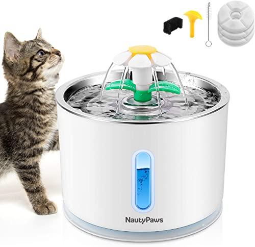 NautyPaws Cat Water Fountain Stainless Steel, Automatic Dog Water Dispenser 81oz 2.4L Pet Fountain with 3 Replacement Filters, Water Level Window with LED Light