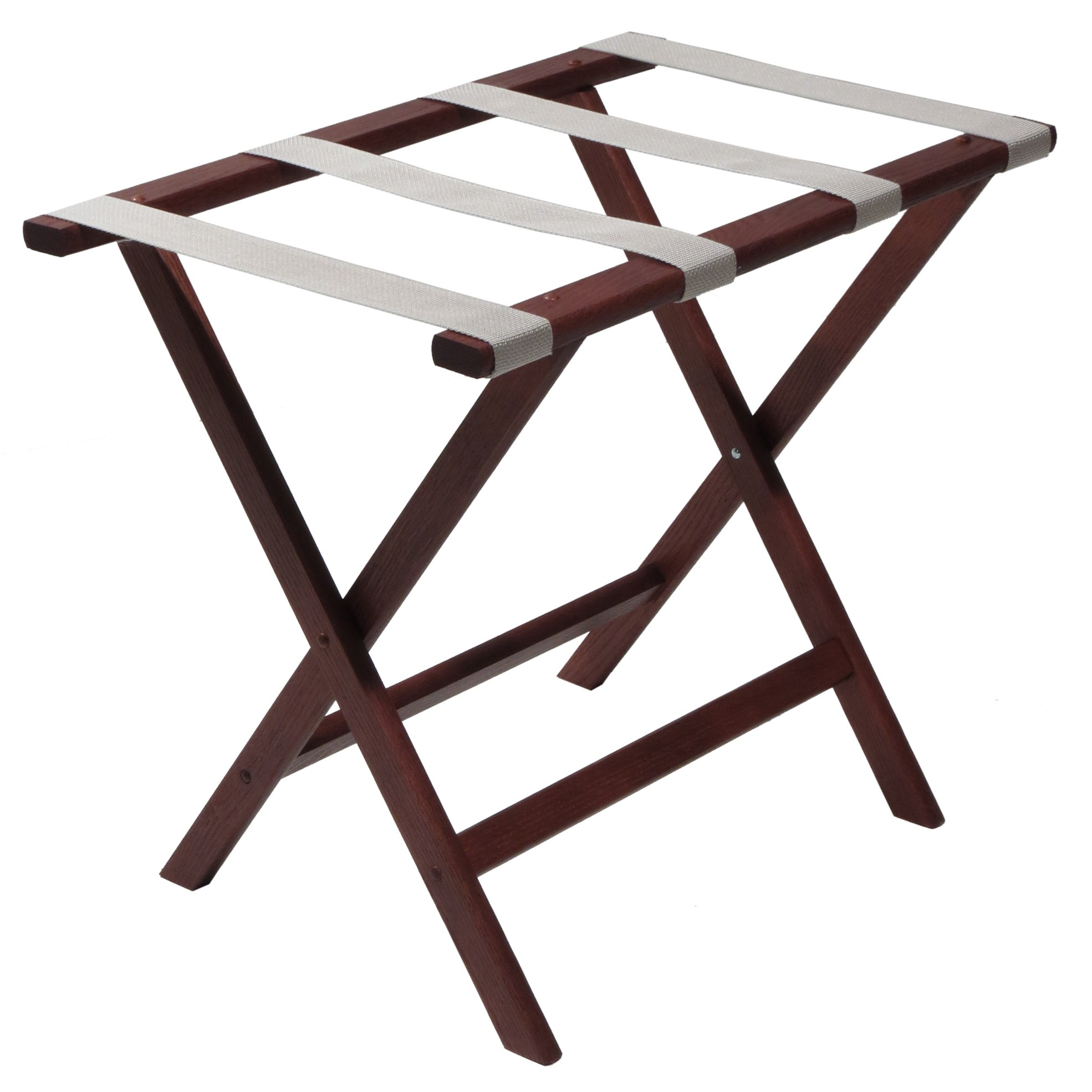 Wooden Mallet Deluxe Straight Leg Luggage Rack, Silver Straps, Mahogany