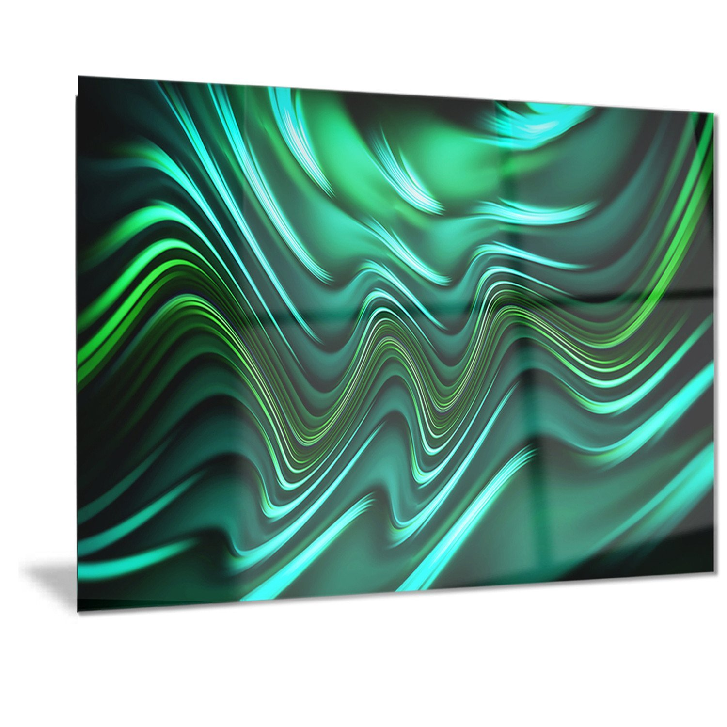 28x12  Designart Emerald Energy Green Abstract Metal Wall Art - MT3020 - 60x28 - 5 Panels
