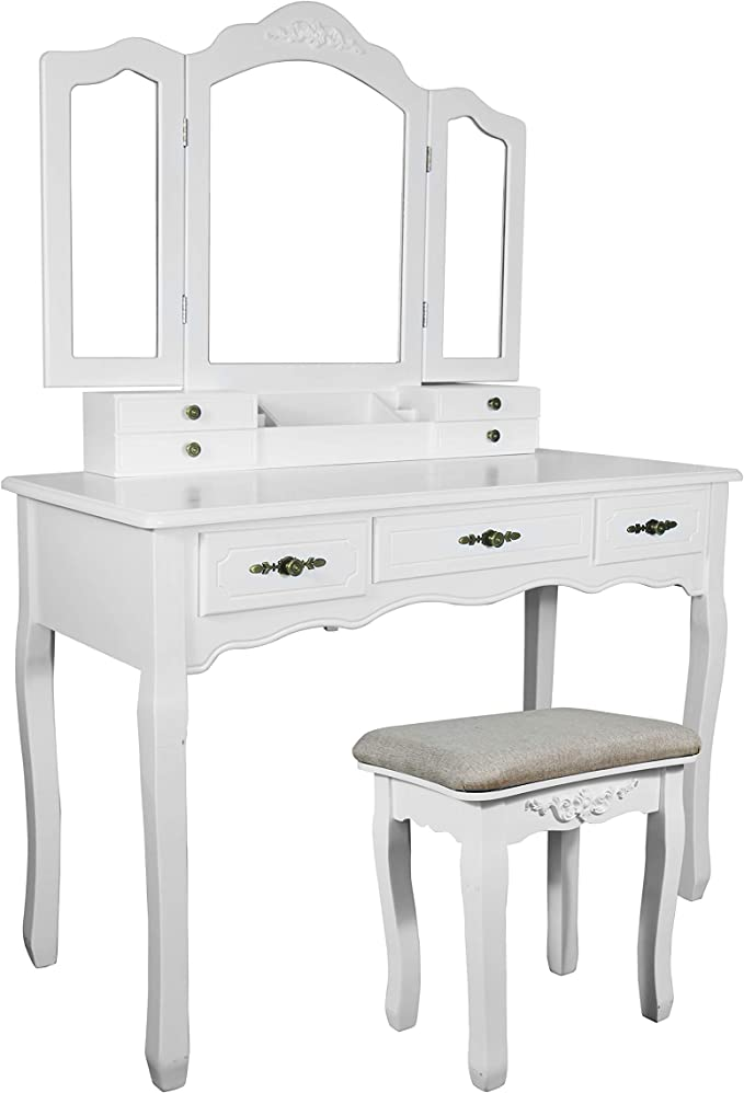Ideal for Bedroom GOFLAME Vanity Table with Tri-Folding Mirror and 7 Drawers Black Bathroom Dressing Room and Living Room Modern Makeup Dressing Table with Cushioned Stool and Removable Top