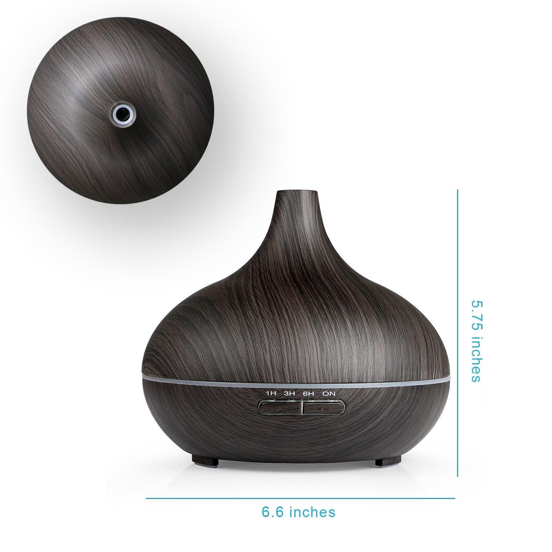 Schwarz REIDEA Aroma Diffuser 300ml Leise Kalten Nebel Oil D/üfte Diffusor Holzmaserung LED mit 7 Farben Abschaltautomatik und Timer