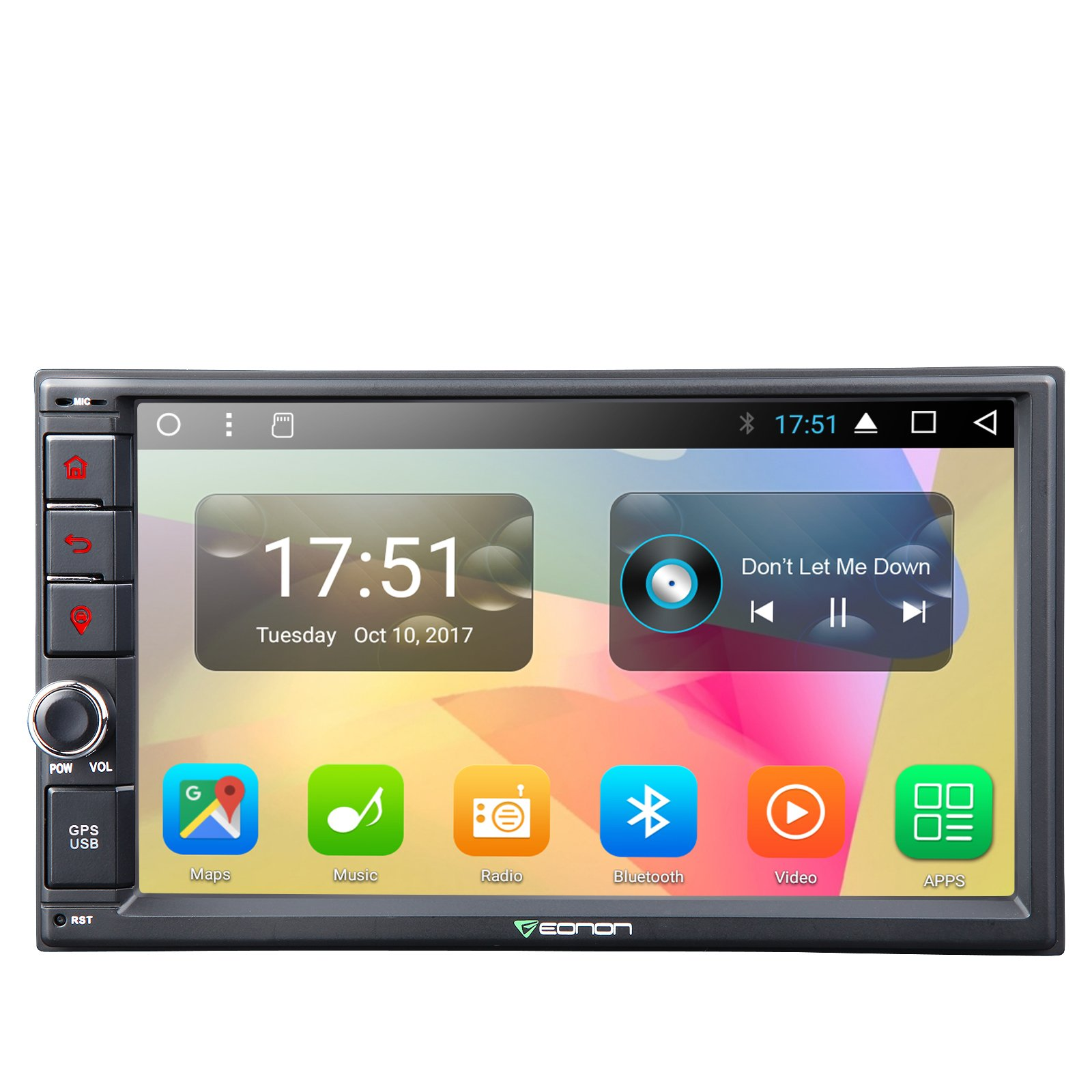 Eonon GA2167 Universal Double Din Car Stereo Player, Android 7.1 Nougat 7 Inch Octa-Core Car Navigation System,2GB RAM 32GB ROM Head Unit with Bluetooth,1024x600 HD Screen Wifi(NO CD/DVD)