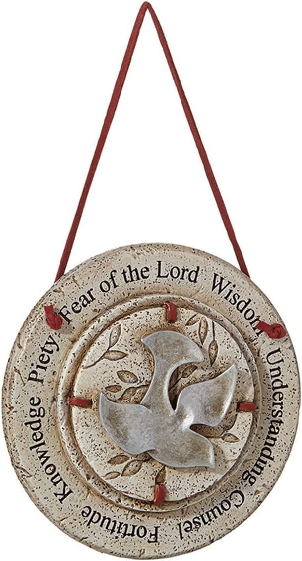 Catholic Gifts of The Holy Spirit Confirmation Hanging Wall Plaque, 4 1/2 Inch