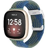 Vozehui Verstelbare gevlochten solo lus horlogebandjes compatibel met Fitbit Versa 3, elastische solo lus vervangende…