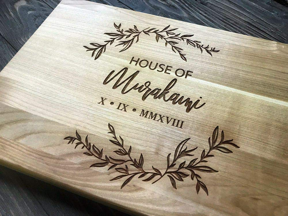 family name housewarming gift Crest couple engraved bamboo cutting board personalized Christmas gift personalized kitchen cook gift