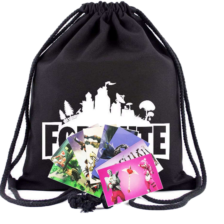 Fort Game Drawstring Bags Sports Backpacks for Boys Kids Fortnight Fans Pocket Shoulder Bags for Gym Traveling Godecal
